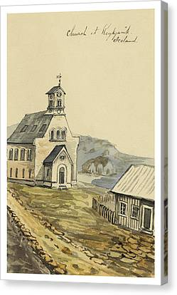 Church At Rejkjavik Iceland 1862 Canvas Print