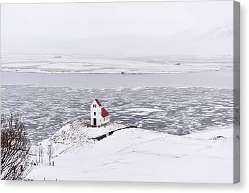 Church By A Frozen Lake Canvas Print