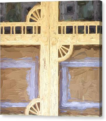 Screen Doors Canvas Print - Church Camp House Detail Painterly Series 10 by Carol Leigh