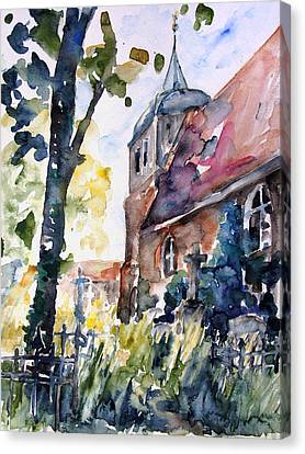 Church Cemetery In Buchholz Canvas Print by Barbara Pommerenke