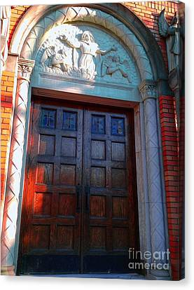 Canvas Print featuring the photograph Church Door 1 by Becky Lupe