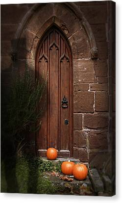 Church Door At Halloween Canvas Print by Amanda Elwell