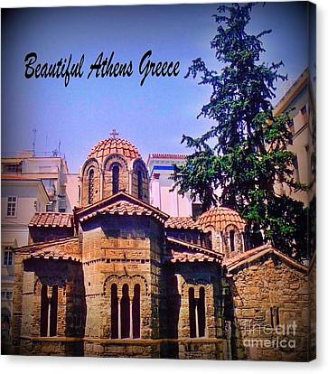 Church In Beautiful Athens Canvas Print by John Malone