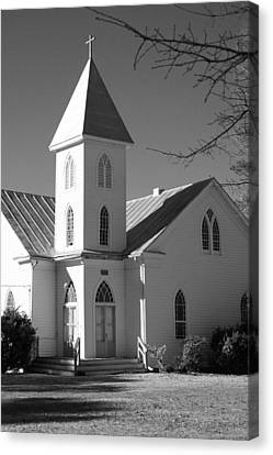 Church In Black And White Canvas Print by Carolyn Ricks