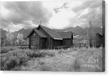 Church In Black And White Canvas Print by Kathleen Struckle