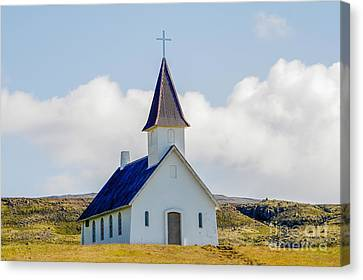 Church In Deserted Landscape In Iceland Canvas Print by Patricia Hofmeester