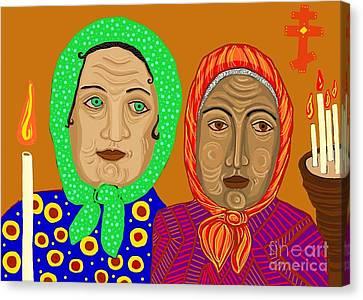 Church Ladies Canvas Print by Sarah Loft