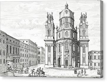 Church Of Notre Dame, Salzburg Canvas Print by Johann Bernhard Fischer von Erlach