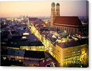 Church Of Our Dear Lady In Munich At Dusk Canvas Print by Stephan Pietzko