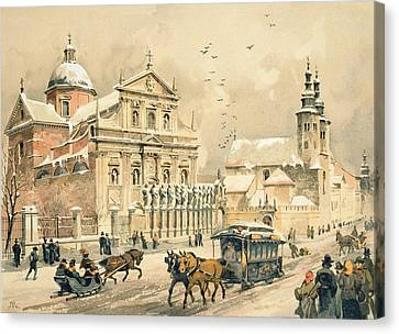 Blizzard Canvas Print - Church Of St Peter And Paul In Krakow by Stanislawa Kossaka