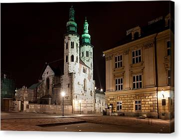 Church Of St. Andrew At Night In Krakow Canvas Print by Artur Bogacki