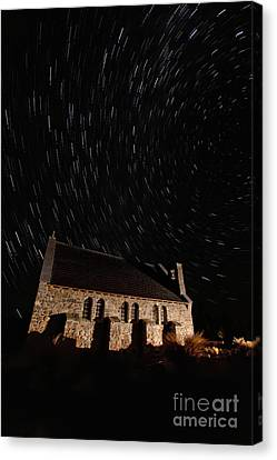 Church Of The Good Shepherd Startrail  Canvas Print