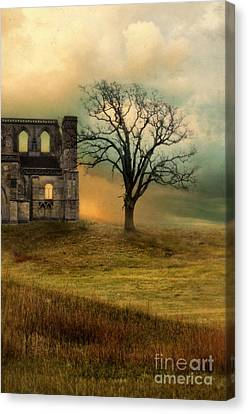 Church Ruin With Stormy Skies Canvas Print by Jill Battaglia