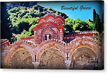 Church Ruins In Greece Canvas Print by John Malone
