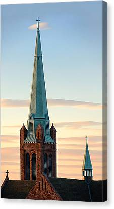 Catholic Crosses Canvas Print - Church Spire At Day's End by Jim Hughes