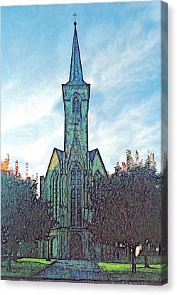 Church Steeple At Sunrise Canvas Print by Dennis Lundell