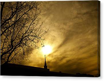 Canvas Print featuring the photograph Church Steeple Clouds Parting by Jerry Cowart