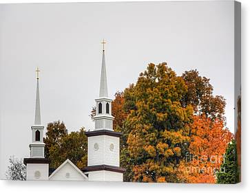 Hdr Landscape Canvas Print - Church Steeple Surrounded By Autumns Beauty  by Sherri Duncan