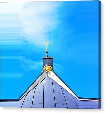 Church Top With Sun And Cross Canvas Print by Tommytechno Sweden