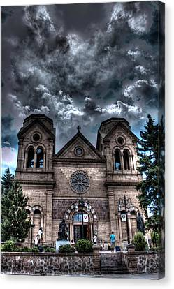 Canvas Print featuring the photograph Church Under An Angry Sky by Dave Garner