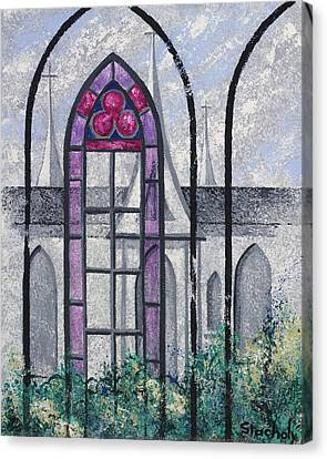 Canvas Print featuring the painting Church Window by Artists With Autism Inc