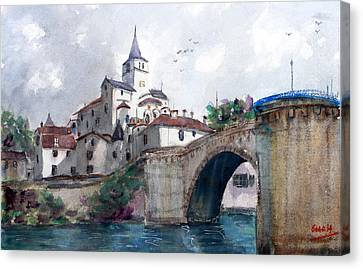 Church With A Bridge Canvas Print