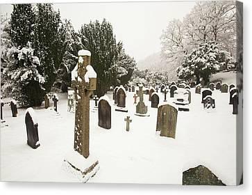 Church Yard In Snow Canvas Print