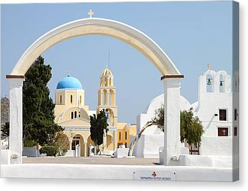 Churches Oia Santorini Greek Islands Canvas Print by Carole-Anne Fooks