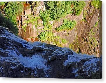 Churning Waters. Cliffs At Narada Falls Canvas Print by Connie Fox