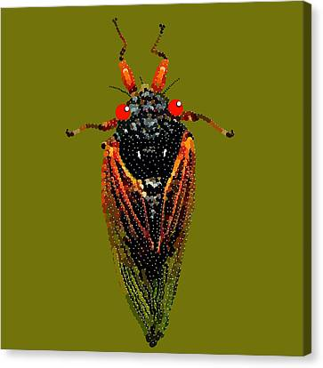 Cicada In Green Canvas Print by R  Allen Swezey