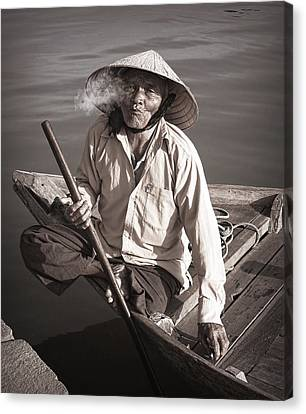 Canvas Print featuring the photograph Cigar Man by Kim Andelkovic