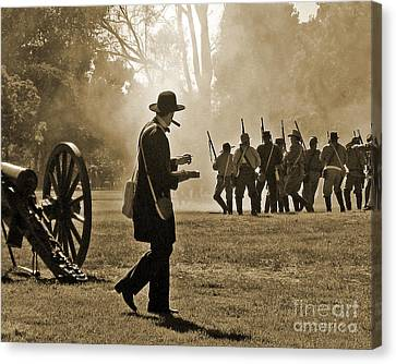 Canvas Print featuring the photograph Cigar Man - U.s. Civil War Reenact by Cheryl Del Toro