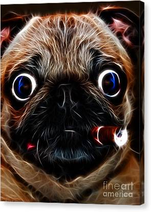 Cigar Puffing Pug - Electric Art Canvas Print by Wingsdomain Art and Photography