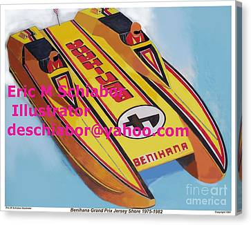 Cigarett Power Boat Illustration Canvas Print by Eric  Schiabor