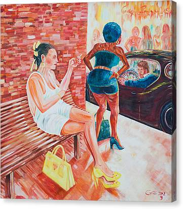Canvas Print featuring the painting Cigarette Break by Giovanni Caputo