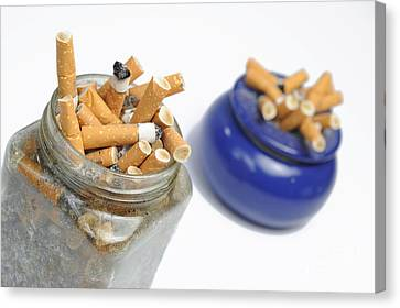 Cigarettes Butts In Jar And Ashtray Canvas Print