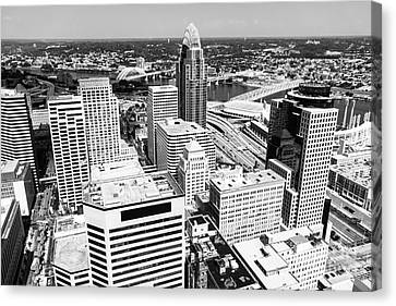 Ballpark Canvas Print - Cincinnati Aerial Skyline Black And White Picture by Paul Velgos