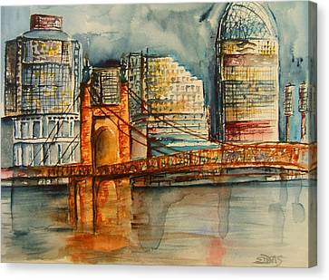 Roebling Bridge Canvas Print - Cincinnati At Dusk by Elaine Duras