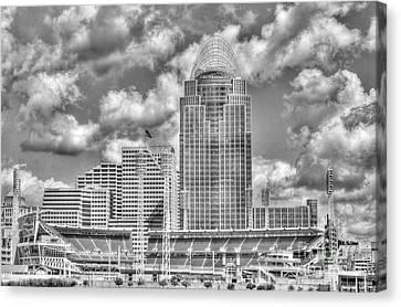 Cincinnati Ballpark Clouds Bw Canvas Print by Mel Steinhauer