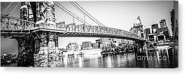 Cincinnati Bridge Retro Panorama Photo Canvas Print by Paul Velgos