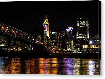 Canvas Print featuring the photograph Cincinnati By Night by Cathy Donohoue