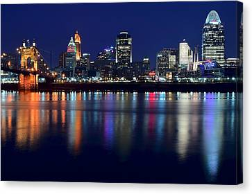 Cincinnati Ohio Blue Hour Canvas Print by Frozen in Time Fine Art Photography
