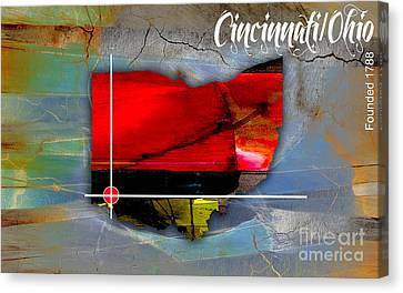 Cincinnati Ohio Map Watercolor Canvas Print by Marvin Blaine
