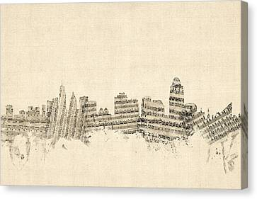 Cincinnati Ohio Skyline Sheet Music Cityscape Canvas Print by Michael Tompsett