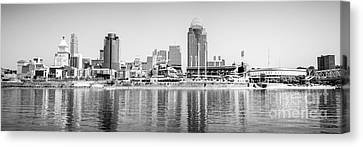 Cincinnati Panorama Black And White Picture Canvas Print by Paul Velgos