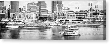 Ballpark Canvas Print - Cincinnati Panoramic Picture In Black And White by Paul Velgos