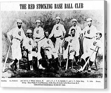 Cincinnati Red Stocking Baseball Team Canvas Print by Gary Wonning