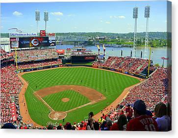 Cincinnati Reds Stadium Canvas Print by Kathy Barney