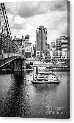 Cincinnati Riverfront Black And White Picture Canvas Print by Paul Velgos