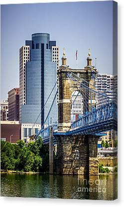 Cincinnati Scripps Building And Roebling Bridge Canvas Print by Paul Velgos